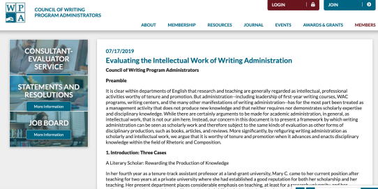 CWPA Statement on Writing Administration as Intellectual Work